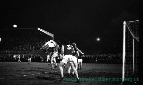 Action from Hereford United v West Ham, FA Cup 4th round, 9 Feb 1972.