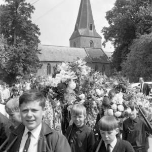 Boys taking part in the Fownhope Heart of Oak Club Walk, 1969