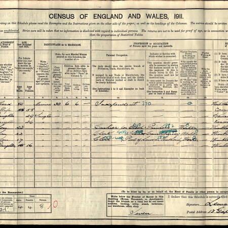 1911 Census - 13 Gap Road, Wimbledon