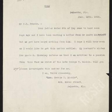 Letter from Bessie Dickie regarding the Widows Fund