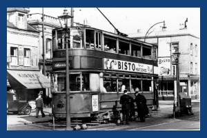 Tram pictured near the Merton Change Pit, Longley Road