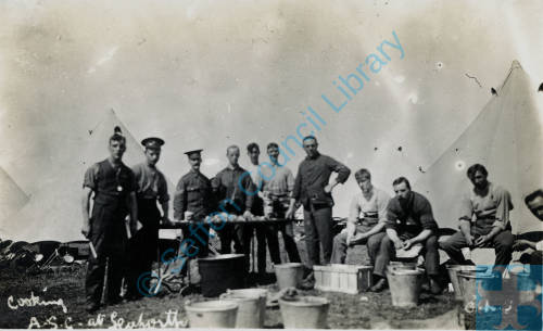 ASC Transport column, Shore Field, Crosby Road, 1914. Peeling potatoes