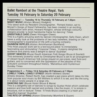 Theatre Royal, York, February 1982