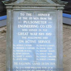 The war memorial of the Pulsometer Engineering Company