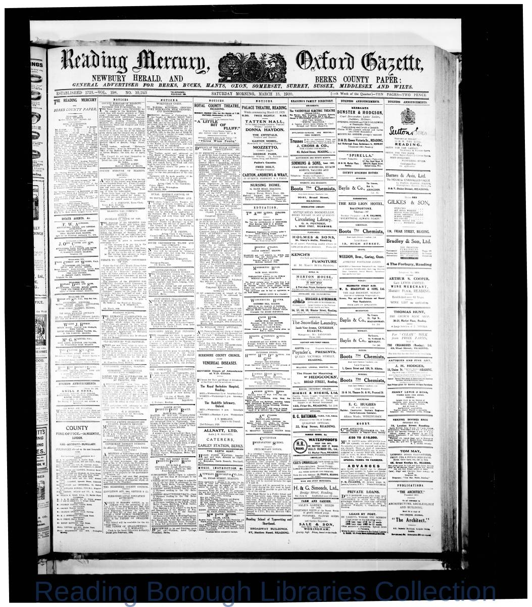 Reading Mercury Oxford Gazette Saturday, March 13, 1920. Pg 1