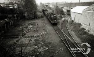 Looking towards Merton Abbey Railway Station, Lines Brothers' siding on right.