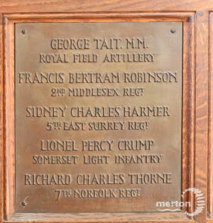 Memorial Plaque - Tait, Robinson, Harmer, Crump & Thorne