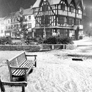 An evening shot of High Town Hereford in the snow.