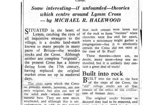 1968, Article on Lymm Cross