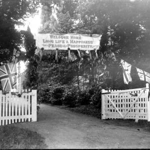 G36-330-03 Driveway with Welcome Home banner. Croft Castle.jpg