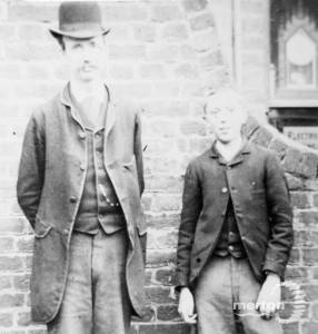Local watchmaker, Mr Hudson Snr and his son George
