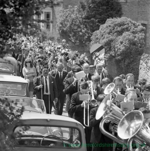 Brass Band Plays at Fownhope Flower Walk, 1969