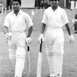 Two young batsmen playing at Hereford.
