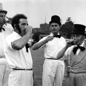 Players having a drink during the Ledbury Rostox Club v Cranham Deeroasters cricket match.