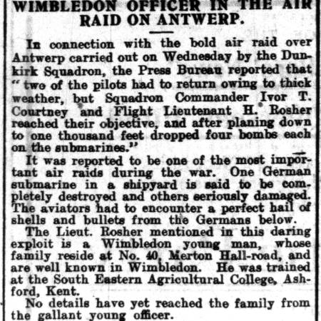 Newspaper extract regarding Harold Rosher's part in an air raid