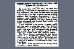 Newspaper extract regarding Harold Rosher's part in an air raid