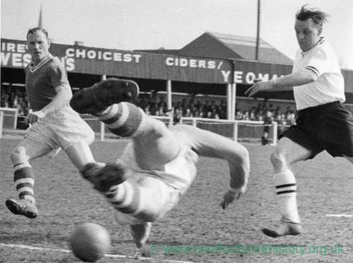 Hereford United in action at Edgar Street, 1950s.
