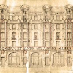 Drawing of the head office of Crédit Commercial de France, decorated with the flags of the Allied Forces for the victory parade along the Champs-Elysees