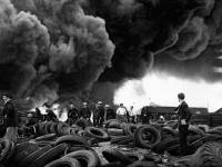 Fire at the tyre dump in Willow Lane, Mitcham