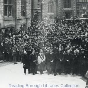 The declaration of King George V, outside the Town Hall, Reading, 1910.