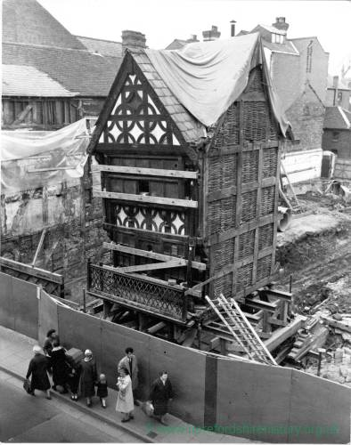The Old Marchants House ready to be relocated in High Town, Hereford, 1965.