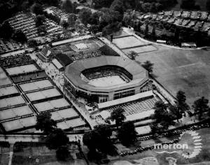 Aerial view of the All England Lawn Tennis Club, Wimbledon
