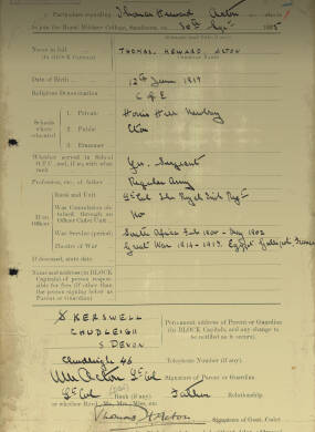 RMC Form 18A Personal Detail Sheets Aug 1935 Intake