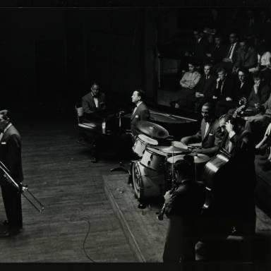 Jack Teagarden (front), Earl Hines, Max Kaminsky, Cozy Cole, Jack Lesberg  and Peanuts Hucko (left to right)