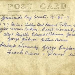 Grenoside Boy Scouts 1908-9. 2 (Overleaf)