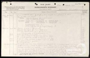 War Diary Entry for 1st Battalion, Border Regiment - Charles Gibbs