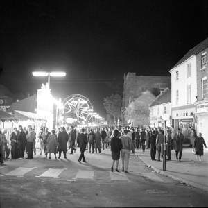 Hereford High Street during the May Fair in 1962