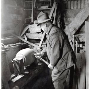 Mr E Pikes at work with a wheel lathe, Dorstone, 1935