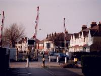 Railway line and Eastfields level crossing, Grove Road, Mitcham