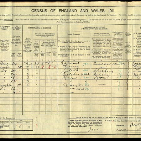 A J Norris 1911 Census Pincott Road