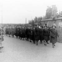 Women's Voluntary Service Marching at the Bootle Victory Parade in 1945