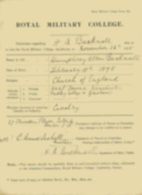 RMC Form 18A Personal Detail Sheets Nov 1915 Intake - page 11