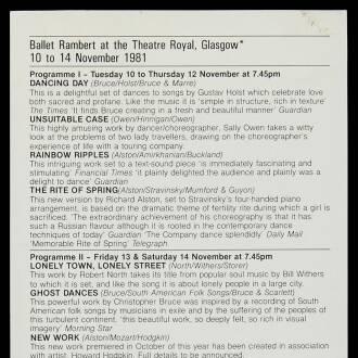Theatre Royal, Glasgow, November 1981
