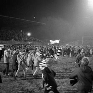 Jubilant Hereford United fans after the 0-0 draw with West Ham, Feb 1972.