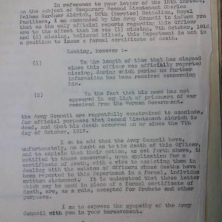 Letter from the War Office regarding Charles Pelham Gardner Aldrich