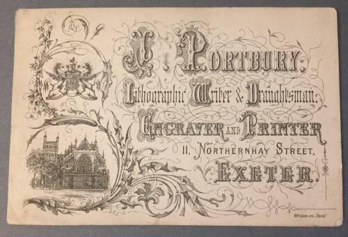 J. Portbury, Lithograph, Writer & Draughsman, Engraver and Printer, 11 Northernhay Street, Exeter, 19th century