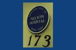 Merton Road: Blue plaque markling the original site of Nelson Hospital