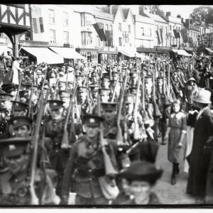 Regiment marching to Ledbury Station , High Street (looking South), Ledbury, August 5th 1914
