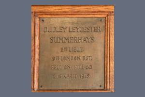 Memorial Plaque - Dudley Leycester Summerhays