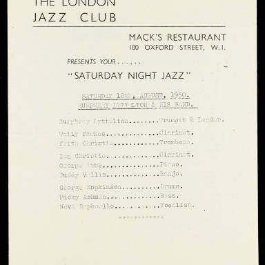 The London Jazz Club. Mack's Restaurant. 100 Oxford Street. Humphrey Lyttelton & His Band