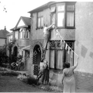 Coronation Decorations 1953 At 11 & 13 Creswick Lane