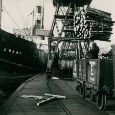 Discharging Pit Props at Tyne Docks