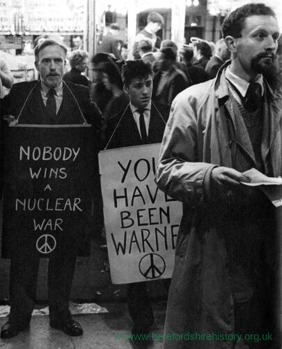 A CND protest in Hereford with teacher 'Erikie' Wood.