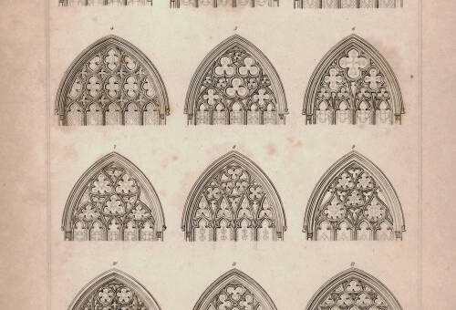 Tracery of 12 windows at Exeter Cathedral, 1826, Exeter