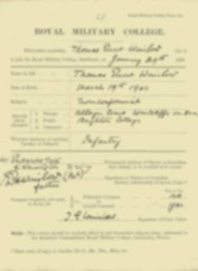 Thomas Winslow -  RMC Form 18A Personal Detail Sheets Jan & Sept 1920 Intake