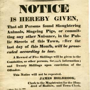 Slaughtering animals notice, Ledbury, 1826